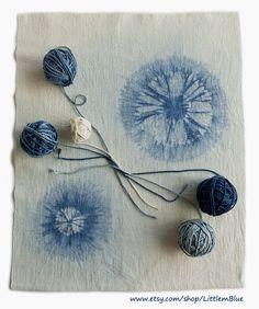 Indigo shibori hand-dyed fabric and cotton code - Little m Blue