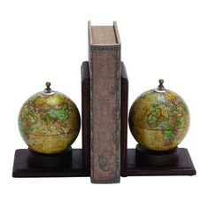 Wooden and Metal Globe Bookends (Set of 2)