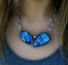 Black Lightning Strike Labradorite Sterling Silver Necklace