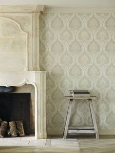Latika in Ivory & Stone from the Echo Wallpaper Collection by Baker Lifestyle. Available at GP & J Baker. Modern Shabby Chic, Shabby Chic Office, Shabby Chic Wall Decor, Shabby Chic Curtains, Shabby Chic Interiors, Shabby Chic Living Room, Shabby Chic Cottage, Shabby Chic Kitchen, Shabby Chic Homes