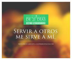 Bienvenido al Día 15: ¿Cómo puedo servir? Cuando servimos a otros desde un lugar de amor, también nos damos servicio a nosotros mismos. #choprameditacion