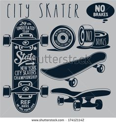 skateboard vector - stock vector