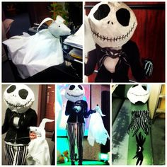 DIY My homemade Jack Skellington costume for a Halloween contest at work; papier mâché head, electrical taped pants, painted fabric tail and bowtie, dollar store skeleton gloves since I ran out of time :) and his ghost pup Zero prop made with aluminum wire, tissue paper & tablecloth, plain paper, electrical tape and led lights with battery pack to make him glow! Boy Halloween Costumes, Halloween Fun, Skeleton Gloves, Jack Skellington Costume, Paper Tablecloth, Prop Making, Battery Lights, Electrical Tape