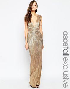 c9617a0c7bd7 ASOS TALL Plunge Pleat Column Maxi Abschluss, Kleider, Große Kleider,  Formelle Kleider,