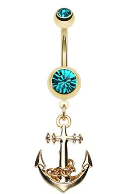 Golden Colored Classic Anchor Belly Button Ring