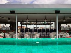 Pool at Soho House Hotel, Berlin Soho House Berlin, Soho House Hotel, Cafe Restaurant, Roof Styles, House Styles, Bauhaus Building, Little Cottages, Modern Roofing, Timber Cladding