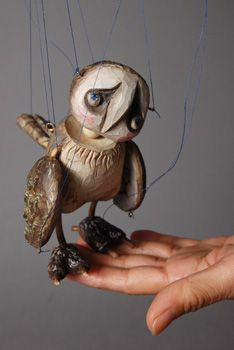 Fantasy | Whimsical | Strange | Mythical | Creative | Creatures | Dolls | Sculptures | Owl figure marionette doll