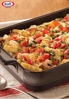 Monterey Chicken Pasta Bake – Cheesy with shredded Monterey Jack and hearty with chicken, bacon and rigatoni, family-pleasing pasta bake is ready for the oven in just 20 minutes.