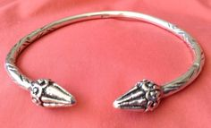 Vtg Antique West Indian Caribbean 35.6grams Sterling Silver Cuff Bangle Bracelet