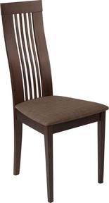 Hamlet Walnut Finish Wood Dining Chair with Framed Rail Back and Brown Fabric Seat - Bay Furnishings Patio Furniture Makeover, Iron Patio Furniture, Outdoor Dining Furniture, Furniture Legs, Wooden Dining Chairs, Upholstered Dining Chairs, Dining Chair Set, Rattan Chairs, Rustic Country Furniture