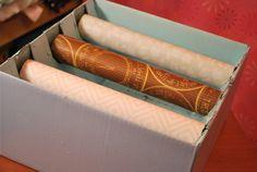 Bracelet storage out of paper towel rolls.