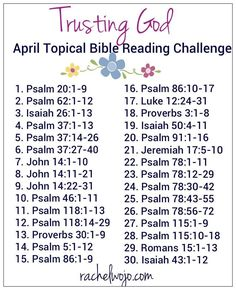 Trusting God April Bible reading challenge: Do you ever feel like your relationship with God is limited by your ability to trust him fully? Bible Study Plans, Bible Plan, Bible Study Tips, Bible Reading Plans, Bible Reading Schedule, Scripture Reading, Scripture Study, Bible Scriptures, Bible Quotes