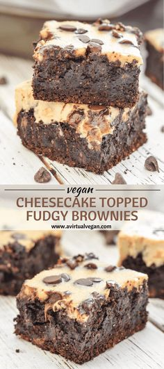Indulgently rich, extra Fudgy Brownies made even better with a layer of creamy, slightly tart cheesecake & a smattering of chocolate chips. Gooey, chocolate perfection! via @avirtualvegan