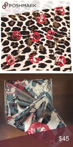 """NWT $188 Kenneth Jay Lane Leopard Scarf New in the poly with tags in perfect condition! Limited edition Kenneth Jay Lane silk twill 35"""" square leopard and roses scarf. Hand rolled edges Kenneth Jay Lane Accessories Scarves & Wraps"""