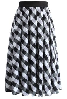 Retro Plaid Check Midi Skirt in Black - New Arrivals - Retro, Indie and Unique Fashion