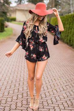 In Sand Ruffle Sleeve Keyhole Cutout Cinched Waist Tulip Hem Floral Romper (Black)Written In Sand Ruffle Sleeve Keyhole Cutout Cinched Waist Tulip Hem Floral Romper (Black) Curvy Fashion Summer, Summer Fashion Outfits, Cute Summer Outfits, Spring Outfits, Kaftan, Outfits With Hats, Mode Outfits, Floppy Hat Outfit, Black Romper Outfit