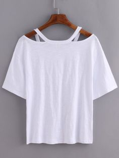 Shop Cutout Loose-Fit White T-shirt online. SheIn offers Cutout Loose-Fit White T-shirt & more to fit your fashionable needs.DIY cut out with large t-shirtProduct name: [good_name] at SHEIN, Category: T-Shirts, Price: [good_price] Diy Cut Shirts, Umgestaltete Shirts, T Shirt Diy, Diy Tshirt Ideas, T Shirt Hacks, Band Shirts, Shirt Shop, Cut Up T Shirt, Tee Shirt Cutting