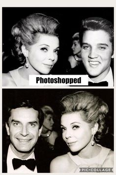 Bottom: REAL photo of actress Barbara Bain (who is from Chicago, IL by the way) and her husband Martin Landau which was taken in 1968! The photoshopped picture using Elvis' head is from Memphis, TN, January 4, 1957.