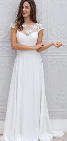 Simple A-Line Scoop Neckline Cap Sleeves Open Back Long Beach Wedding Dresses With Lace,FPWD055 Wedding Dresses Uk, Open Back Wedding Dress, Wedding Dress Train, Wedding Dress Chiffon, Affordable Wedding Dresses, Long Bridesmaid Dresses, Cheap Wedding Dress, Lace Dress, Lace Chiffon