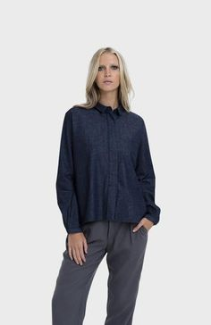 The Wide Placket Denim Shirt has been crafted from cotton. A relaxed style, it features a drop shoulder. Elk Accessories, Classic Chic, White Sneakers, Denim Shirt, Timeless Fashion, Wardrobe Staples, Bell Sleeve Top, Drapery, Bodice