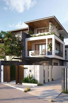 3 storey house design - 41 stunning ideas for beautiful house 2019 23 3 Storey House Design, Bungalow House Design, House Front Design, Modern Architecture House, Architecture Design, Modern Buildings, Modern House Facades, Farmhouse Architecture, Building Architecture