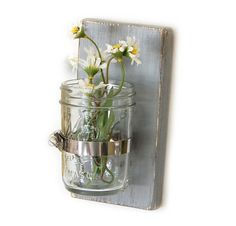 rustic decor floral vase glass vase primitive style wooden home decor