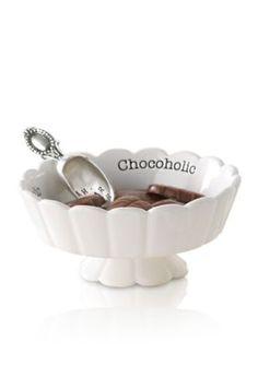 Mud Pie  2-Piece Circa Scalloped Chocoholic Candy Dish and Scoop Set