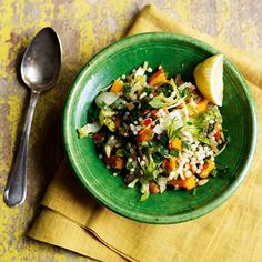 Giant couscous with butternut squash & herbs - serve as a healthy main course or a tasty side to hot or cold meats. Making Quinoa, How To Cook Quinoa, Healthy Grains, Healthy Eating, Healthy Food, Simple Couscous Recipes, Vegan Pot Pies, Vegetarian Recipes, Healthy Recipes