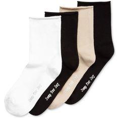 Hue Women's 4-Pk. Roll Top Shortie Socks ($16) ❤ liked on Polyvore featuring intimates, hosiery, socks, white pack, loose socks, white hosiery, white socks, hue hosiery and hue socks