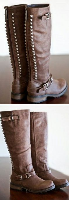 Dark Brown Studded Boots #boots #shoes #fashion