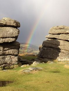 Rainbow and rocks. Dartmoor National Park, Woodland Park, English Countryside, Queen, Somerset, Northern Ireland, Devon, Rainbows, Great Places