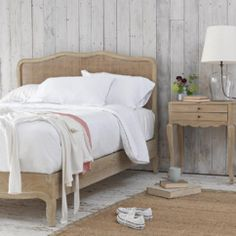 Our Margot weathered oak bed is inspired by a beautiful French bed we fell for in Provence. The lovely rattan headboard has an antique natural finish. Oak Bedroom, Bedroom Decor, Bedroom Inspo, Loaf Beds, Modern Country Bedrooms, Rattan Headboard, Headboards, French Bed, Weathered Oak