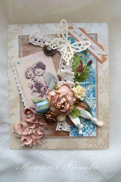 Открытки для женщин, ручной работы. Ярмарка Мастеров - ручная работа открытка  «Немного бежевого ретро». Handmade.