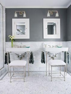 Charcoal gray and white create a modern bathroom color scheme. Love the herringbone floor. Bathroom Floor Tiles, Bathroom Colors, Small Bathroom, Bathroom Ideas, Tile Floor, Bathroom Vanities, Bathroom Gallery, Bathroom Stools, Bathroom Mirrors