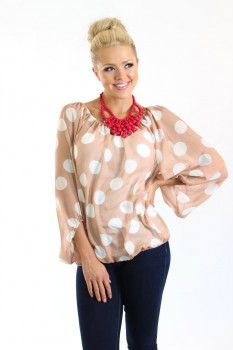 Smitten With Spots Top White and Taupe