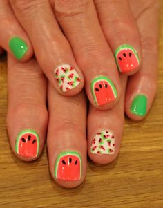 Summer Watermelon Nails! Gelish Amazon Flirt and Shake it til you Samba