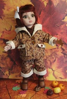 "~UnDeR THe MaPLe TReeS~...a sweet hand tailored ensemble for Tonner Patsy or Ann Estelle 10"" dolls. Consists of a coat, capri pants, turtleneck bodysuit, and socks all in coordinating maple leaves and chocolate fabrics. At my ebay this week karmel*apples, you can buy it now or throw in a lower bid. Makes a fabulous gift for a 10"" doll collector. Follow me on facebook- Karmel Apples Doll Clothes. Only ONE available!"