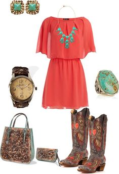 A fashion look from January 2013 featuring red dress, western cowboy boots and zipper wristlet. Browse and shop related looks. Country Girls Outfits, Country Girl Style, Country Fashion, Cowgirl Outfits, Western Outfits, Western Wear, My Style, Country Dresses, Western Cowboy
