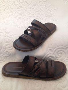 John Varvatos Mens Tobago Brown Leather Strap Slides Size 8.5-RETAIL VALUE $200 #JohnVarvatos #Slides