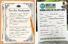 07. Wedding Mad libs    Receive some marvelous and crazy feedback with these creative mad libs-inspired guest book.  WEDDING ADVICE --  5 years later you can look back on the advice your GUESTS gave you and see how it applied to your marriage.