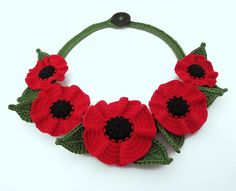 Crochet necklacered poppy crochet necklacered by GiadaCortellini