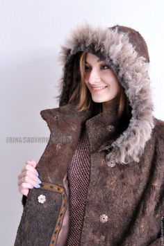 """Купить Пальто-баллон """"Арабика"""" - коричневый, однотонный, пальто, пальто женское, пальто из шерсти"""