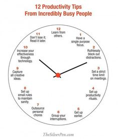 12 Productivity Tips From Incredibly Busy People. I'm not an incredibly busy person, but this is great for the seasons I am or will be.
