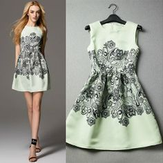 $69.99 USD [ghyxh36223]Celebrity Contrast Color Floral Print Flared Tank Dress