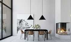 Home Inspiration // Beton Design Interior ideas The Perfect Scandinavian Style Home Futuristisches Design, Beton Design, Loft Design, Design Ideas, Rooms Ideas, Woven Dining Chairs, Folding Chairs, Dining Table, Interior Design Career