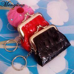 Menglina Fashion PU Leather Keychain Mini Coin Purse Key Ring Crocodile  Pattern Leather Wallet Women Handbag 0f54e993c