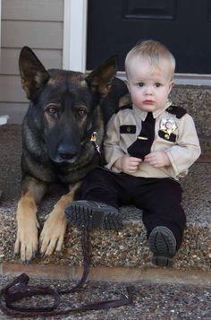 The tiny policeman and his loyal dog...