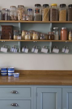 Kitchen open shelving in remodel by Landmark Kitchens UK - See: http://www.landmarkkitchens.co.uk/portfolio-chefs-special/ ~~