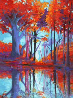 Autumn Colors Painting - Autumnal Landscape, Impressionistic Art by Patricia Awapara Modern Impressionism, Impressionist Art, Caribbean Art, Funky Art, Landscape Artwork, Whimsical Art, Tree Art, Fractal Art, Mosaic Art