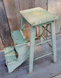 Light Green Step Stool Wooden Fold Out by RelicsAndRhinestones